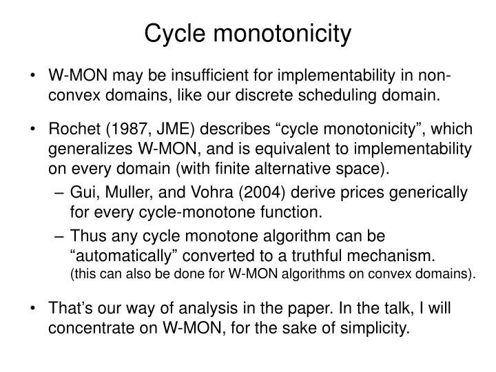 Cycle monotonicity