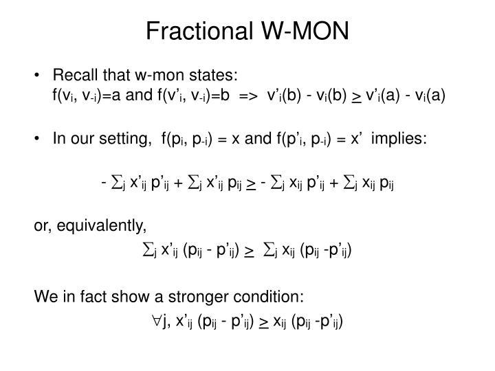 Fractional W-MON