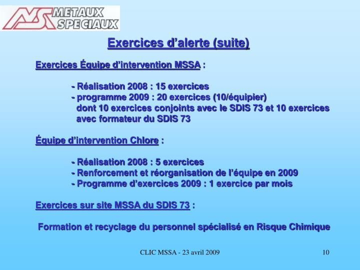 Exercices d'alerte (suite)