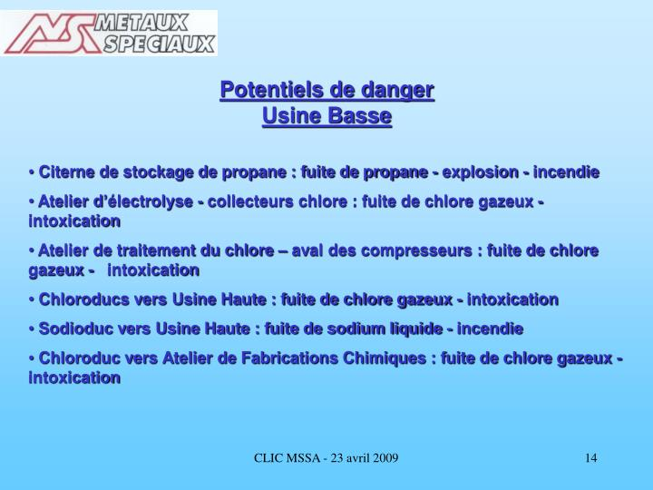 Potentiels de danger