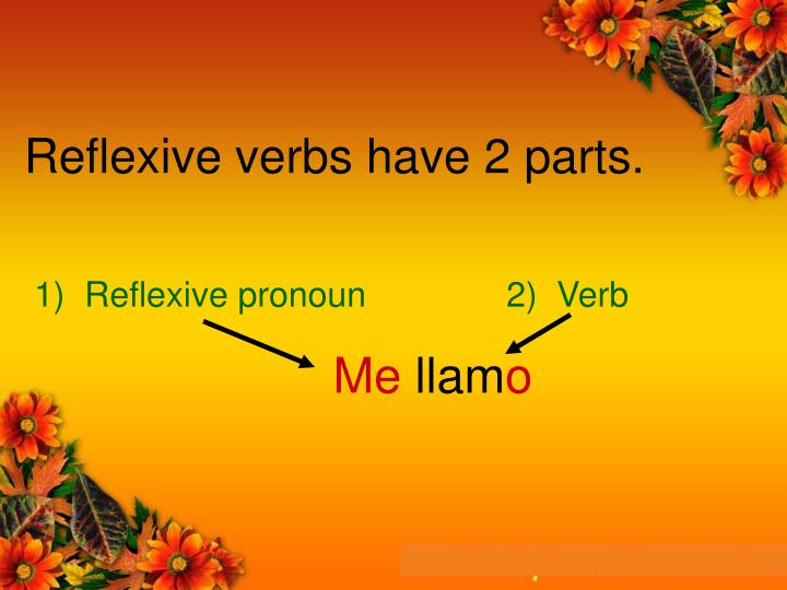 Reflexive verbs have 2 parts.