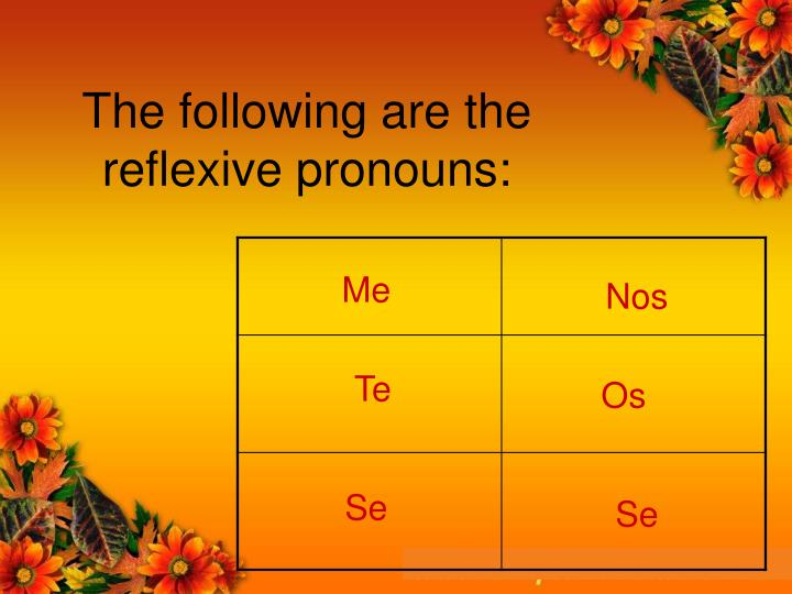 The following are the reflexive pronouns: