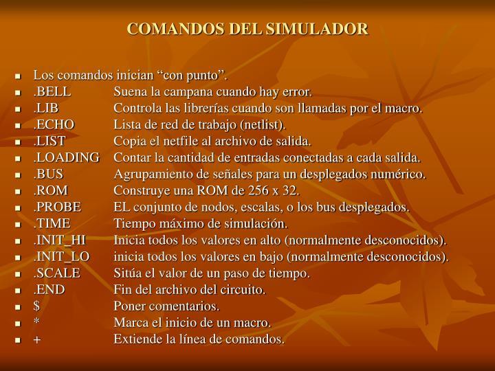 COMANDOS DEL SIMULADOR