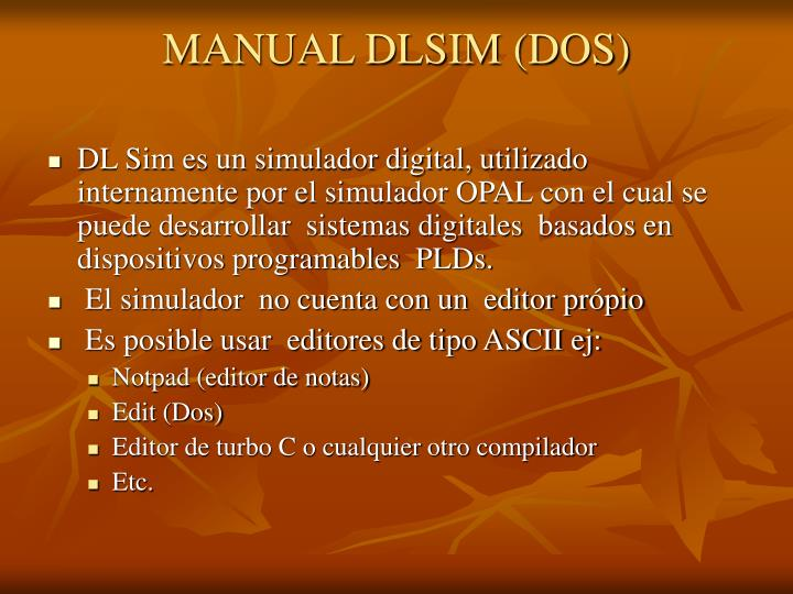 MANUAL DLSIM (DOS)