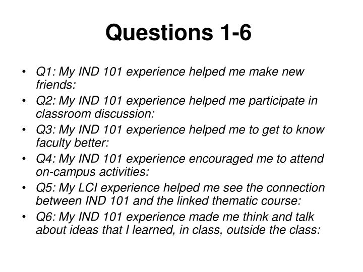 Questions 1-6