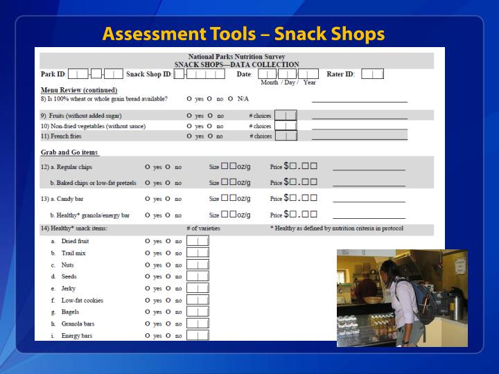 Assessment Tools – Snack Shops