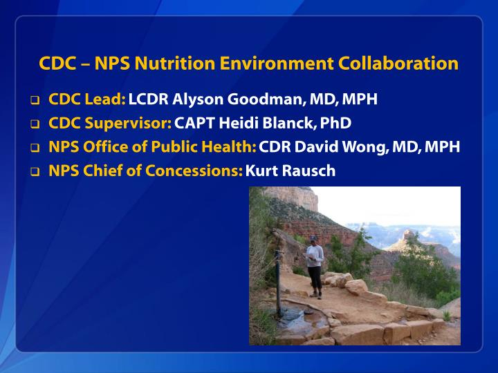 Cdc nps nutrition environment collaboration