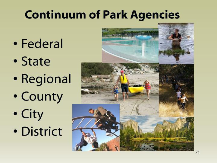 Continuum of Park Agencies