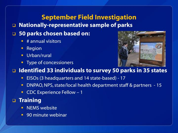 September Field Investigation