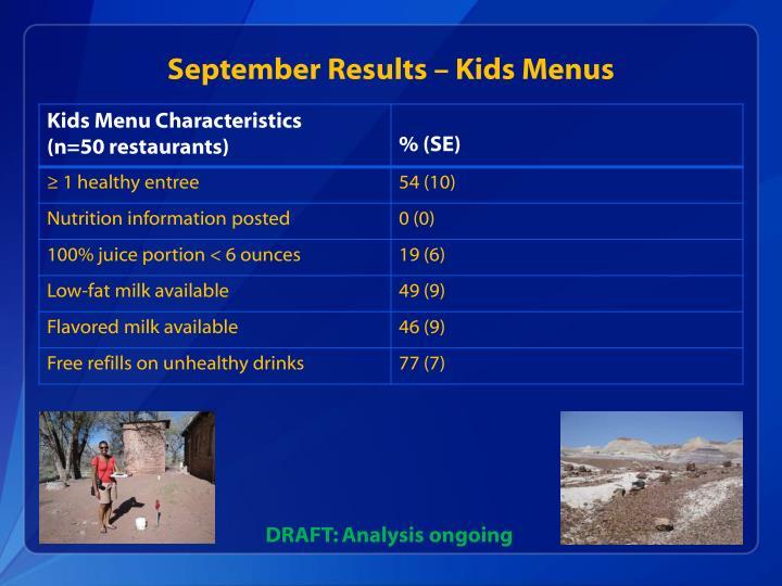 September Results – Kids Menus