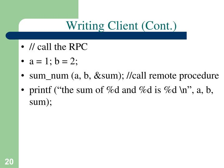 Writing Client (Cont.)