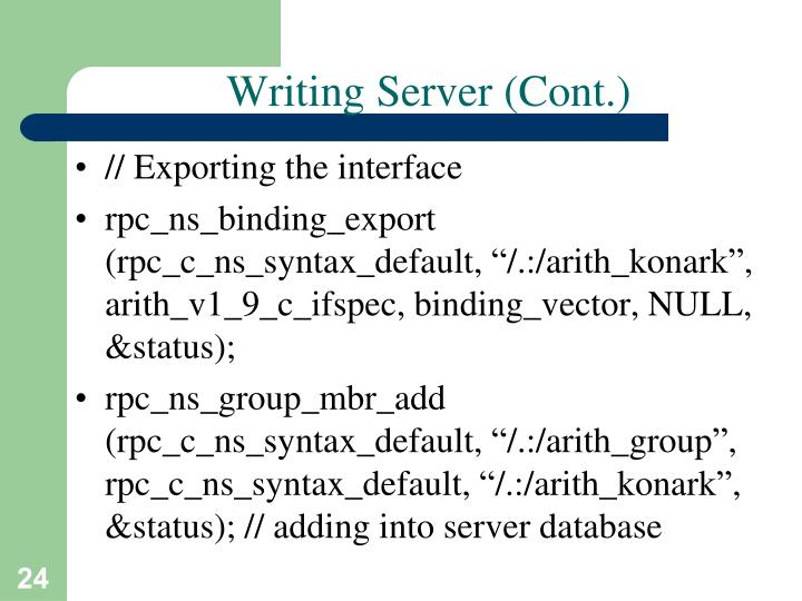 Writing Server (Cont.)