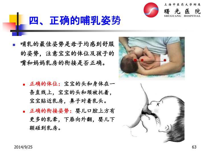 哺乳的最佳姿势是母子均感到舒服的姿势,注意宝宝的体位及孩子的嘴和妈妈乳房的衔接是否正确。