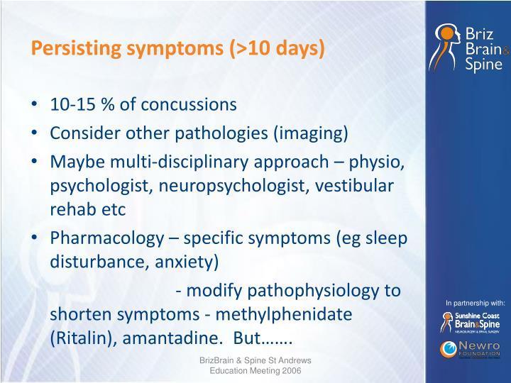 Persisting symptoms (>10 days)