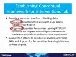 establishing conceptual framework for interventions tab