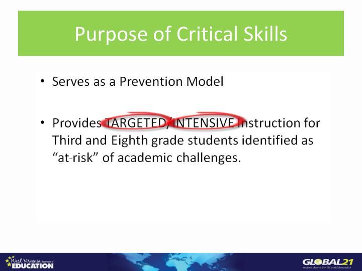 Purpose of Critical Skills