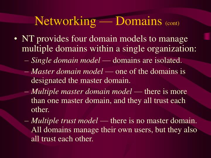 Networking — Domains