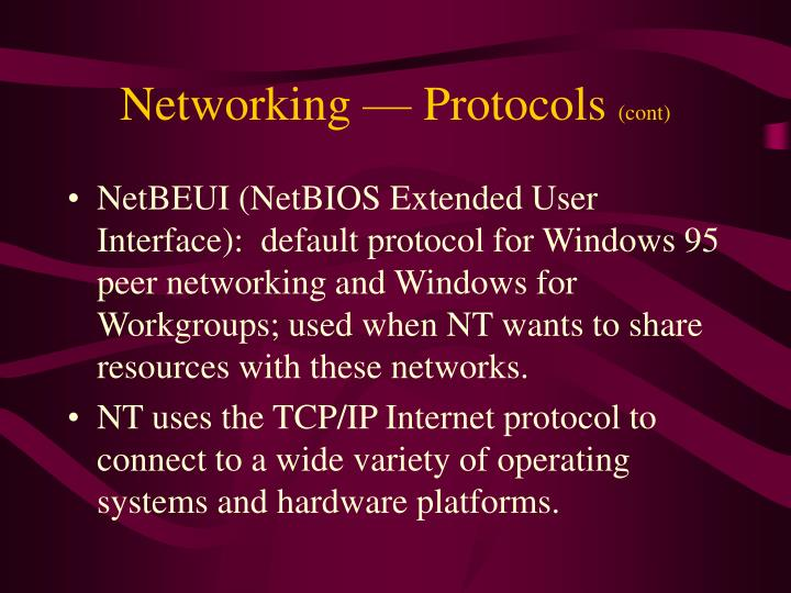 Networking — Protocols