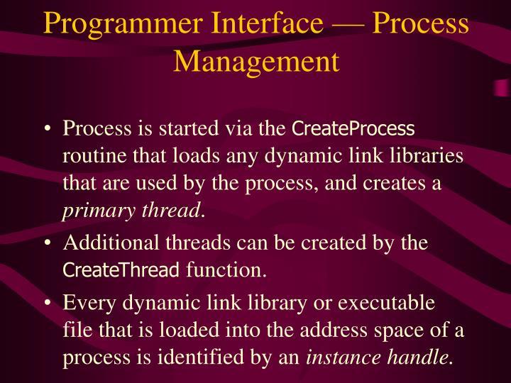 Programmer Interface — Process Management