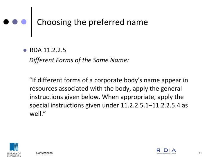 Choosing the preferred name