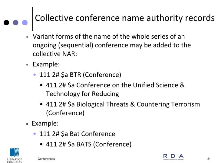 Collective conference name authority records