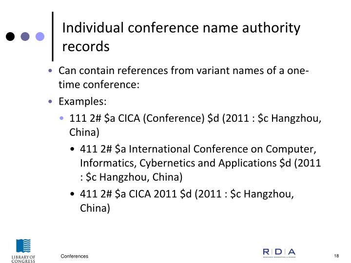 Individual conference name authority records