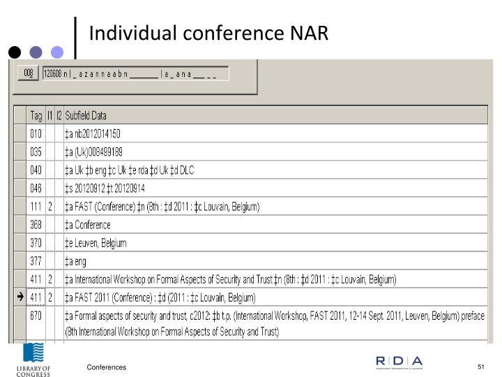 Individual conference NAR