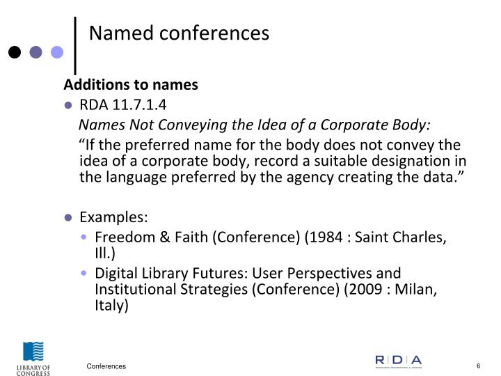 Named conferences