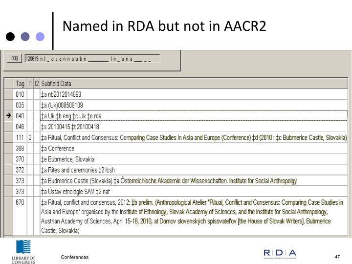 Named in RDA but not in AACR2