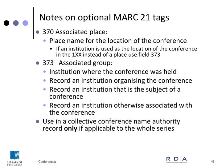 Notes on optional MARC 21 tags