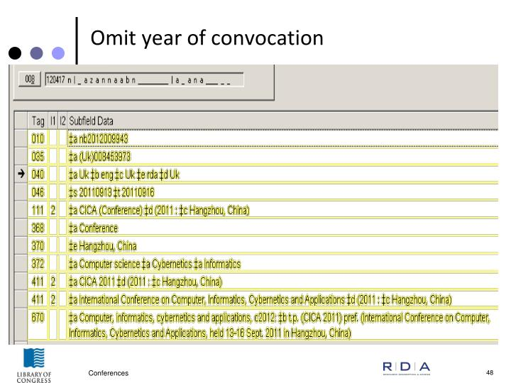 Omit year of convocation