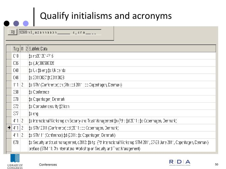 Qualify initialisms and acronyms