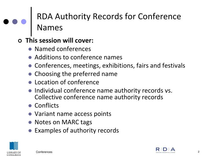Rda authority records for conference names