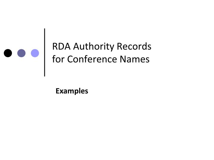 RDA Authority Records