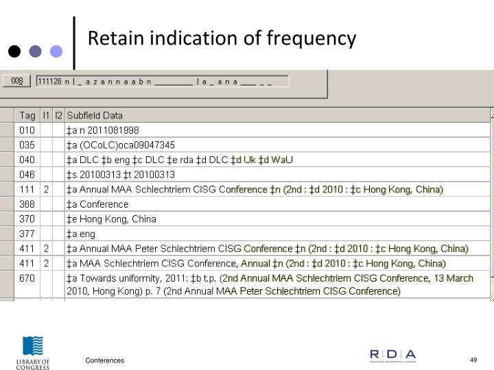 Retain indication of frequency