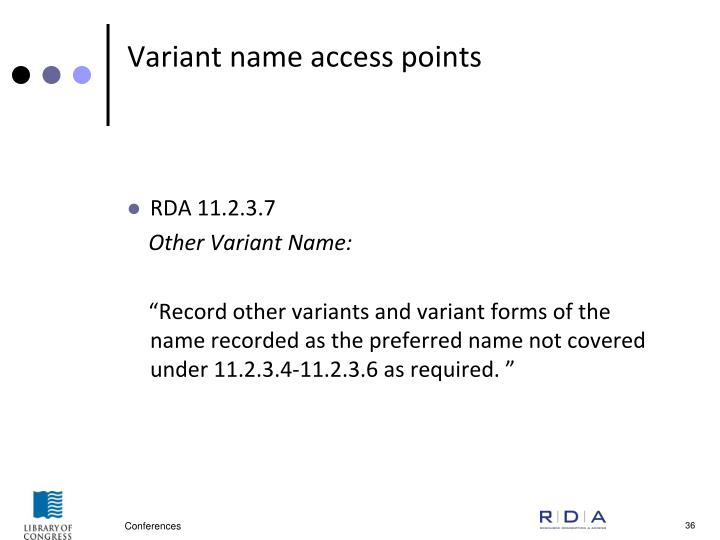Variant name access points