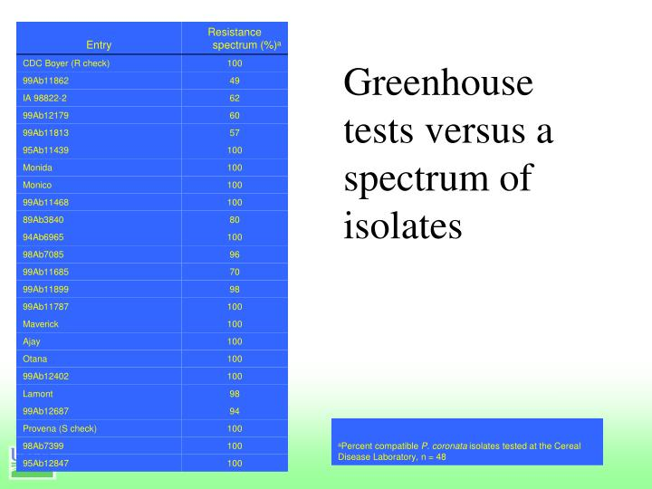 Greenhouse tests versus a spectrum of isolates