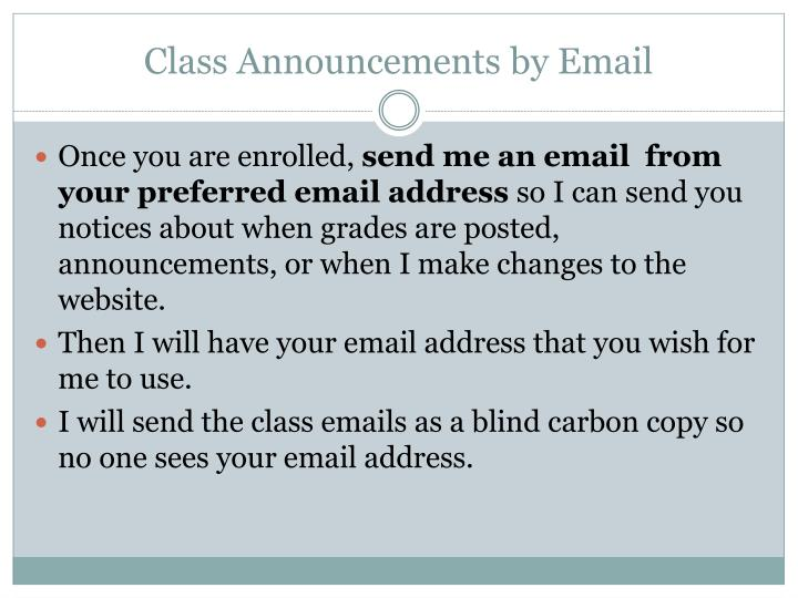 Class Announcements by Email