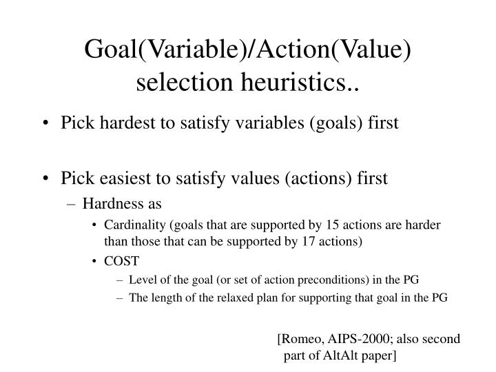 Goal(Variable)/Action(Value)