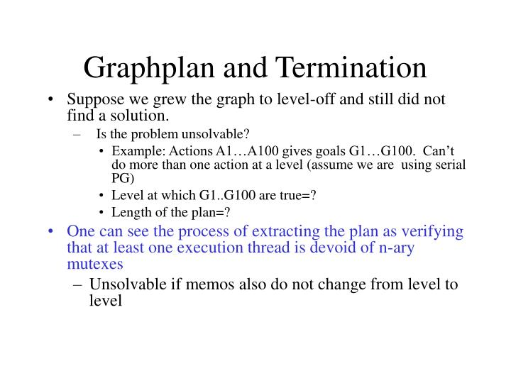 Graphplan and Termination