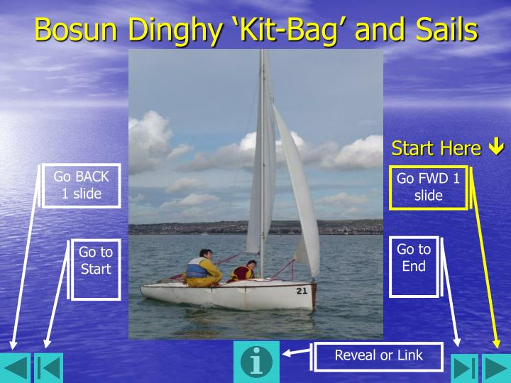 Bosun dinghy kit bag and sails
