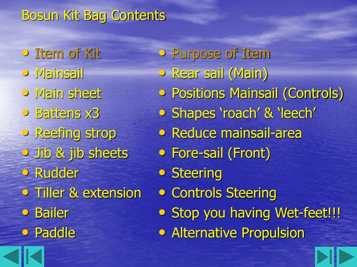 Bosun kit bag contents1