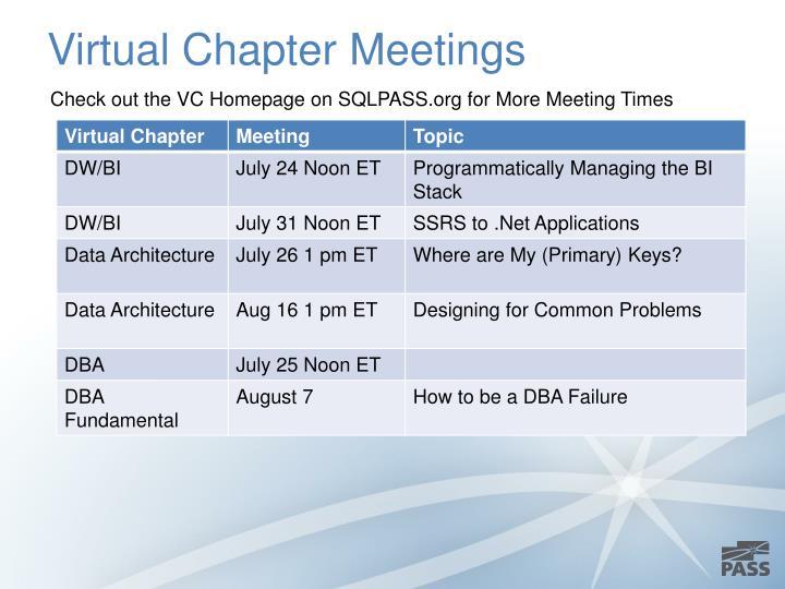 Virtual Chapter Meetings