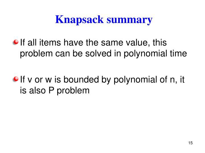 Knapsack summary