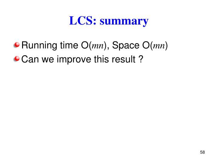 LCS: summary