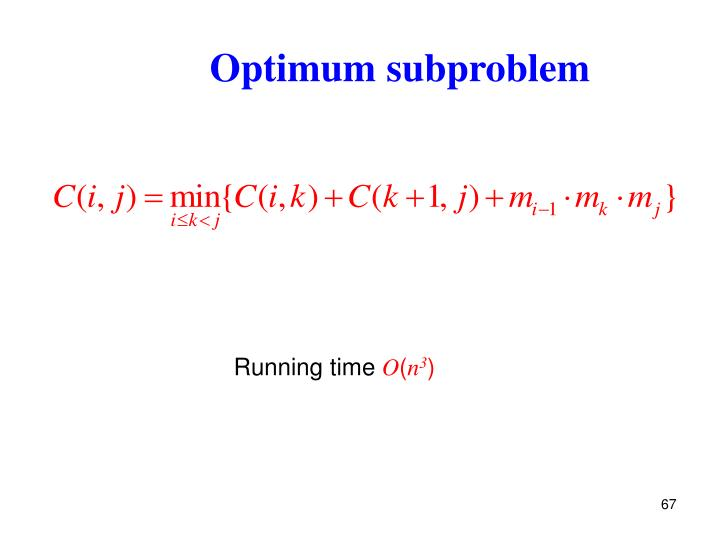 Optimum subproblem