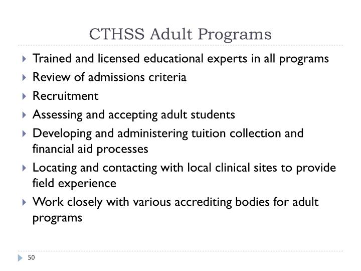 CTHSS Adult Programs