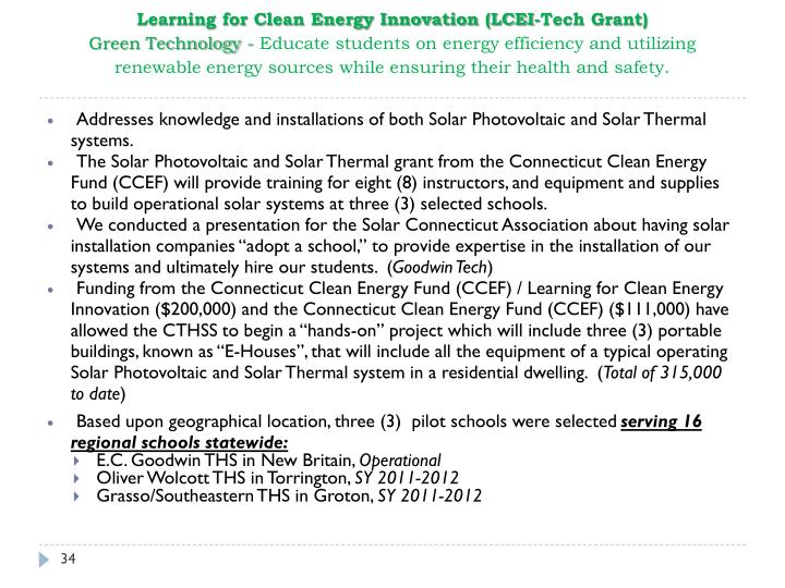 Learning for Clean Energy Innovation (LCEI-Tech Grant)