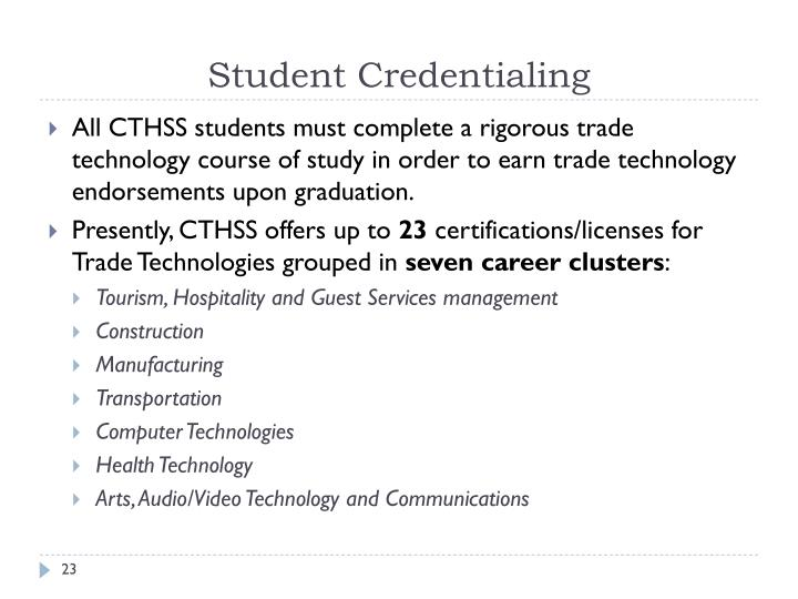 Student Credentialing