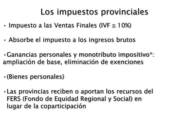 Los impuestos provinciales